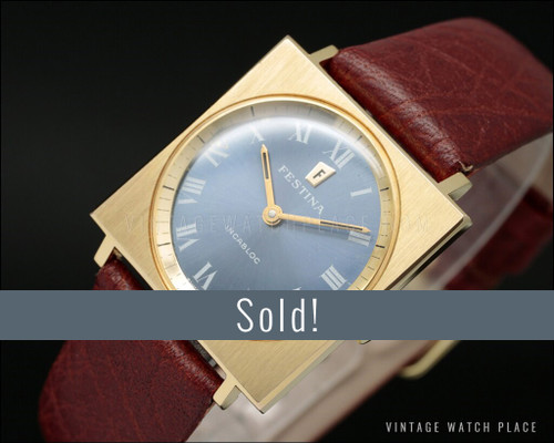 New Old Stock Festina mechanical vintage watch, pink gold plated