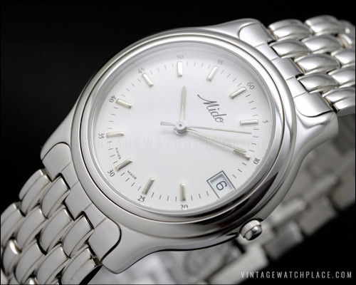 New Old Stock Mido quartz vintage watch NOS stainless steel