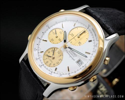 New Old Stock Seiko chronograph quartz vintage, 7T32-FO10, steel & golden, alarm, NOS.