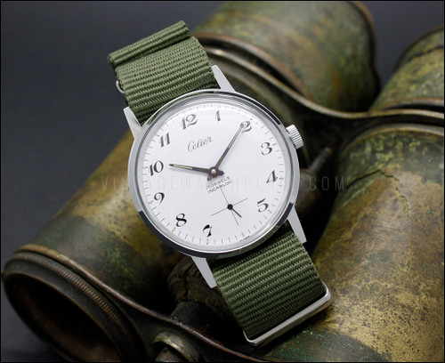 ea747a9bf04 Swiss made vintage NOS military style nickel plated mechanical watch ...