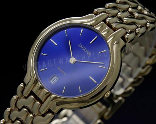 Jaguar vintage dress quartz watch , blue dial, iridescent dial , Sapphire crystal , NOS New Old Stock , ETA 955.414 Swiss movement