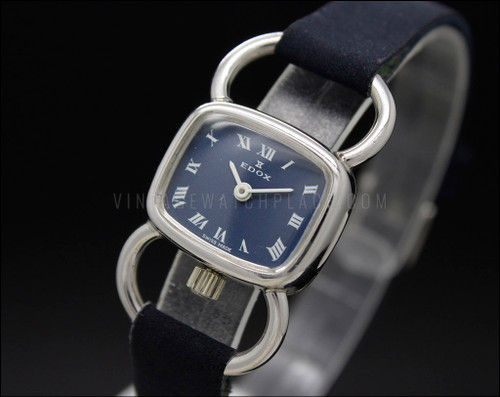 Edox Driver style white gold-plated NOS 70s Mechanical Vintage New Old Stock watch