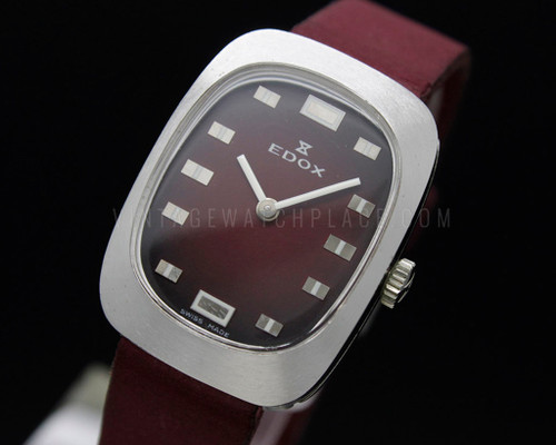 Edox no lugs colored dial and strap burgundy NOS 70s Mechanical Vintage New Old Stock watch Unitas 6365N