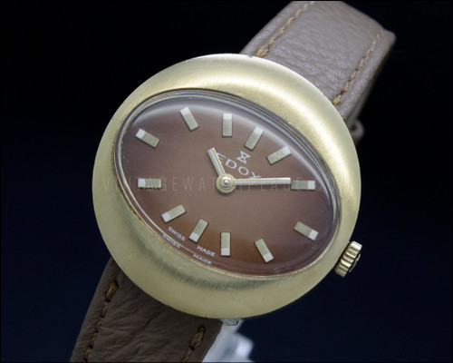 Edox Oval colored dial and strap brown NOS 70s Mechanical Vintage New Old Stock watch ETA 2412