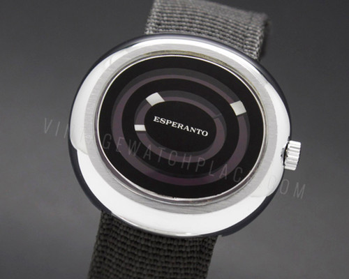Esperanto (Mortima) purple Mystery Dial NOS 1970's Mechanical Vintage New Old Stock watch CRC 860