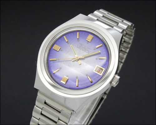 Swiss made Vanroy Violet Purple Dial strong vintage automatic watch FHF 96-4
