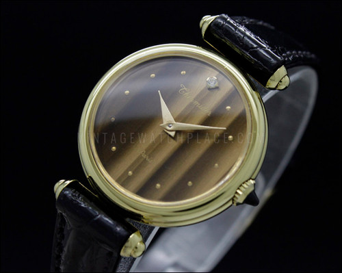 Thermidor Paris, tiger's eye dial with stone, mechanical vintage watch, manual winding, FHF 96 movement