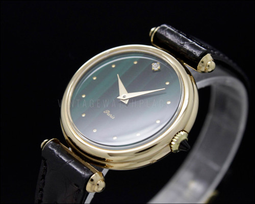 Thermidor Paris, green dial, fancy lugs, gold plated mechanical vintage watch