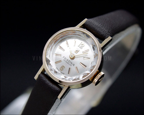 Festina cocktail mechanical tiny watch, FEF 6620, ca. 1960, rose gold plated, vintage, NOS, new old stock