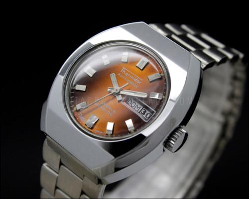 New Old Stock Ladies THERMIDOR 21j Automatic vintage watch NOS orange, ETA 2658