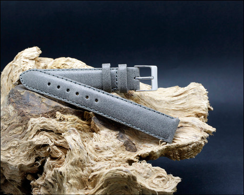 Vintage style leather strap, Gray,  18-20 mm.