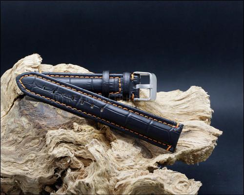 Sport alligator grain leather strap, matt black, Orange stitching, 18-20-22 mm.