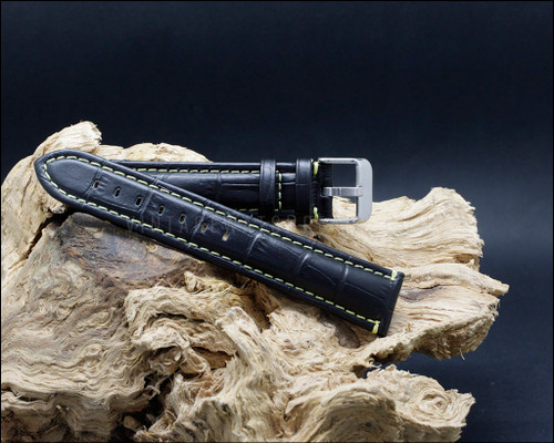 Sport alligator grain leather strap, matt black, Yellow stitching, 18-20-22 mm.