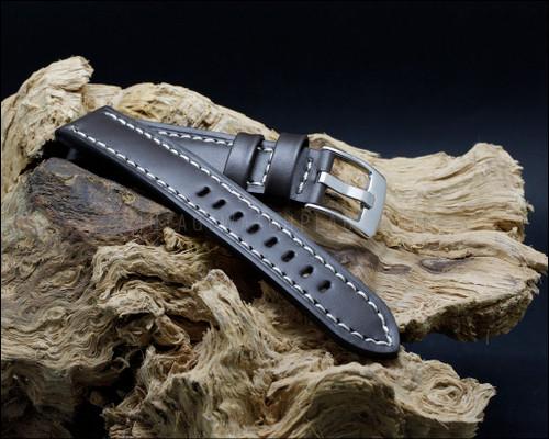 Sport & Strong smooth grain leather strap, semi shine dark brown, 18-20-22 mm.