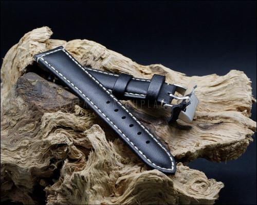 Casual & elegant smooth grain leather strap, aged stitching, matt Black, 18-20-22-24 mm.