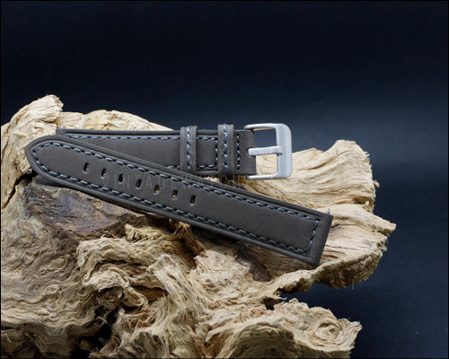 Suede grain, smooth, vintage style, strong Gray watch strap, 20-22-24 mm.