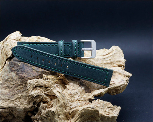 Suede grain, smooth, vintage style, strong Green watch strap, 20-22-24 mm.