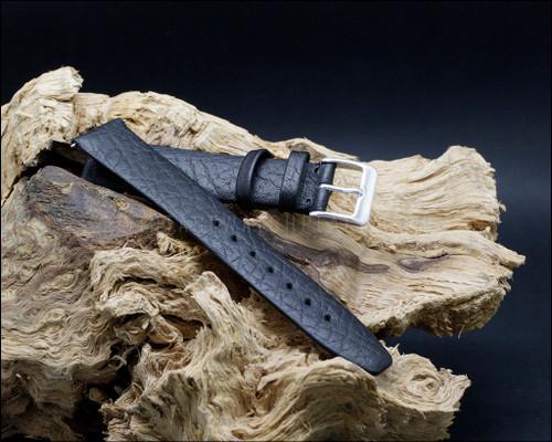 Dress, unstitched, buffalo grain, matt Black watch strap, 16-18-20mm.