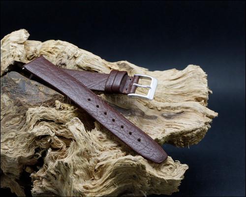 Dress, unstitched, buffalo grain, matt Brown watch strap, 16-18-20mm.