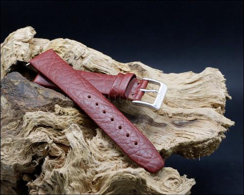 Dress, unstitched, buffalo grain, matt Chestnut brown watch strap, 16-18-20mm.