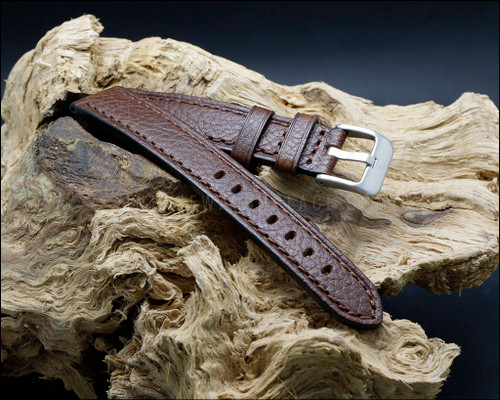 Classic, strong, Dark Brown calf leather, buffalo grain watch strap, 18-20-22 mm.