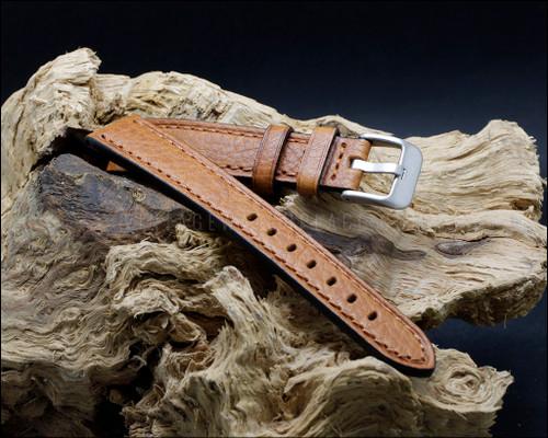 Classic, strong, Tan calf leather, buffalo grain watch strap, 18-20-22 mm.