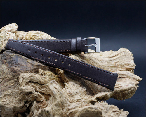 Odd sizes classic, smooth grain, Brown watch strap, 17-19 mm.