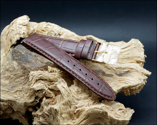 Elegant, Croco grain, semi shine, Dark Brown watch strap, 18-20-22 mm.