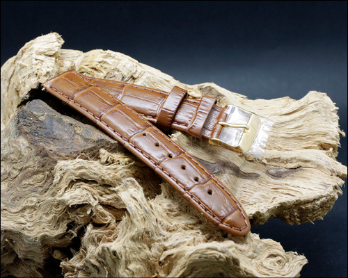 Elegant, Croco grain, semi shine, Tan watch strap, 18-20 mm.