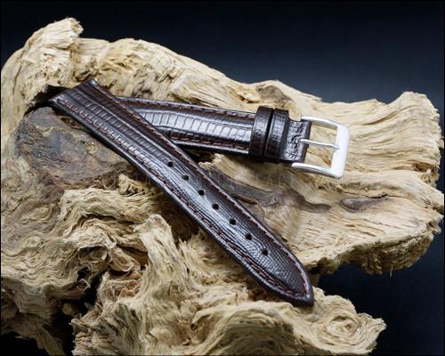 Elegant, Lizard grain, high shine, Dark Brown watch strap, 16-18-20 mm.