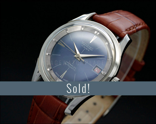 New Old Stock Thermidor vintage automatic watch, blue dial, very dainty, Italian leather Tan strap, for Men