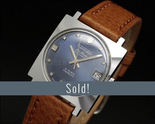 Thermidor De Luxe Automatic, Square, NOS vintage watch, blue dial, very elegant, ETA 2452
