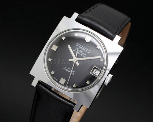 New old stock vintage Thermidor automatic watch, square, fancy shape, black dial, ETA 2452, 21 jewels, Swiss made, NOS