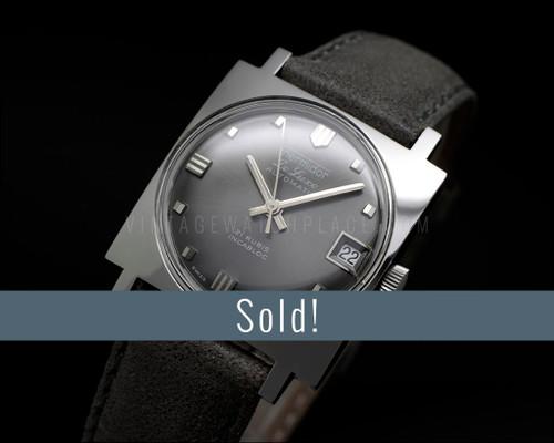 Thermidor De Luxe Automatic, Square, NOS vintage watch, Gray dial, Very dainty, ETA 2782