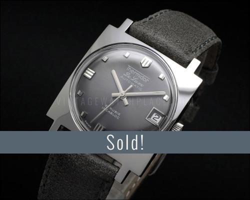 Thermidor De Luxe Automatic, Square, NOS vintage watch, Gray dial, fancy shape, ETA 2782