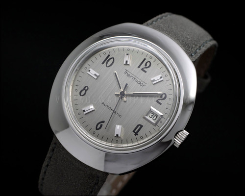Thermidor, Fancy shape vintage automatic watch,  silver dial, FE 4611A, rare, black and steel hands, all stainless steel