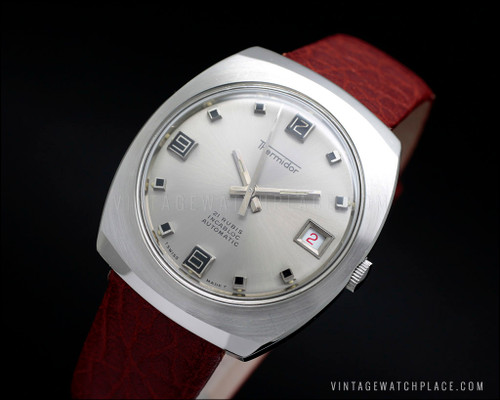 New Old Stock Thermidor vintage automatic watch, silver dial, all stainless steel, ETA 2452, Swiss made, NOS