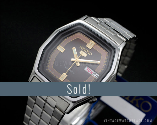 Seiko 5 automatic, New Old Stock, vintage watch 6309-584C, superb!, NOS