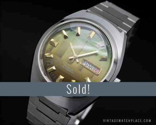 New Old Stock Vanroy, faceted crystal, automatic, NOS vintage watch, ETA 2789