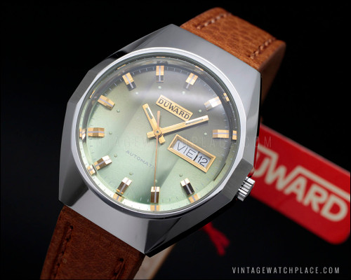Vintage Duward automatic watch, new old stock, green dial, all stainless steel, FE 4612A, NOS