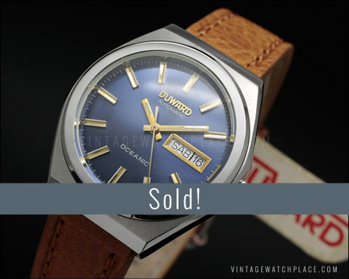 New Old Stock Duward Oceanic, automatic vintage watch, blue dial, FE 4612A, NOS