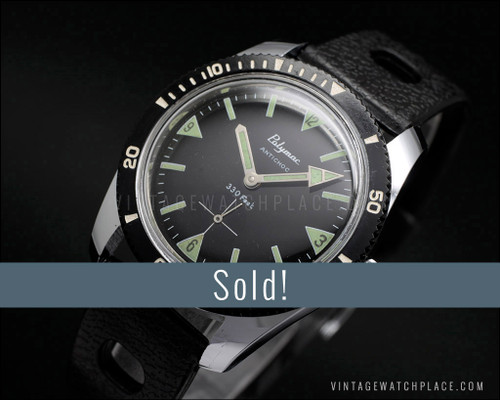 NOS Polymac Diver's 330ft mechanical vintage watch, new old stock