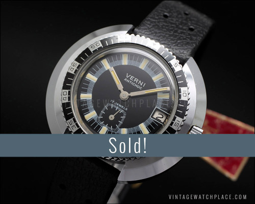 Rare NOS Verni Diver's mechanical vintage watch, new old stock