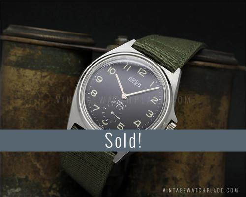 NOS Arsa (Auguste Reymond) Ultra rare military vintage mechanical watch Wehrmachtswerk, Black dial