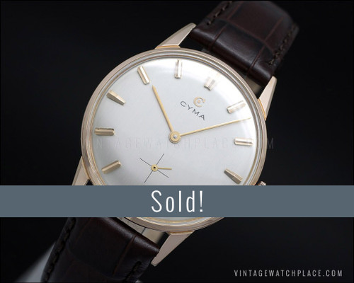 N.O.S. Cyma Dress 60's Classic, rose gold plated mechanical vintage watch