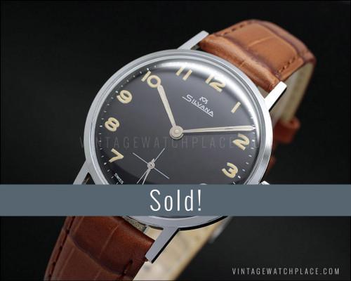 Silvana military vintage mechanical watch Wehrmachtswerk, Black dial