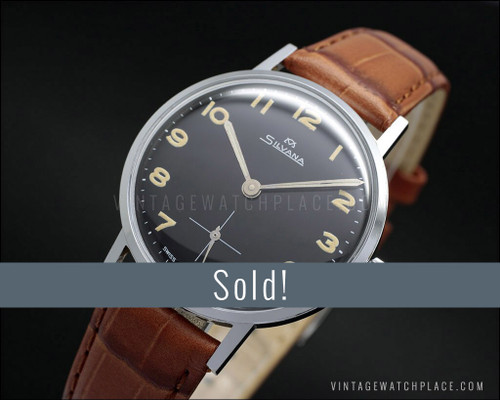 Silvana military vintage mechanical watch Wehrmachtswerk, Black dial