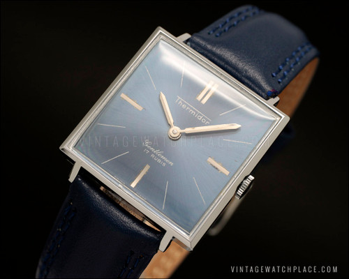 Swiss made new old stock thermidor Gentlemen Dress mechanical vintage watch, blue leather strap, NOS, Peseux 320 movement, blue dial