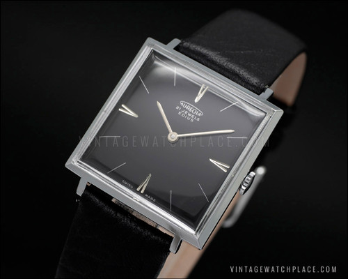 Swiss made new old stock Aureole Edius Dress mechanical vintage watch, black leather strap, NOS, FHF 81 movement, black dial