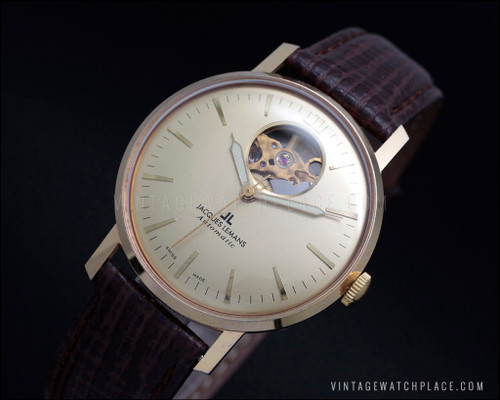 See Through dial Jacques Lemans marriage automatic vintage watch, ETA 2824-2 Hi Beat Swiss made movement, gold plated, classic look